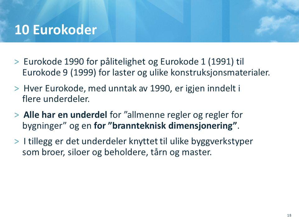 10 Eurokoder Eurokode 1990 for pålitelighet og Eurokode 1 (1991) til Eurokode 9 (1999) for laster og ulike konstruksjonsmaterialer.