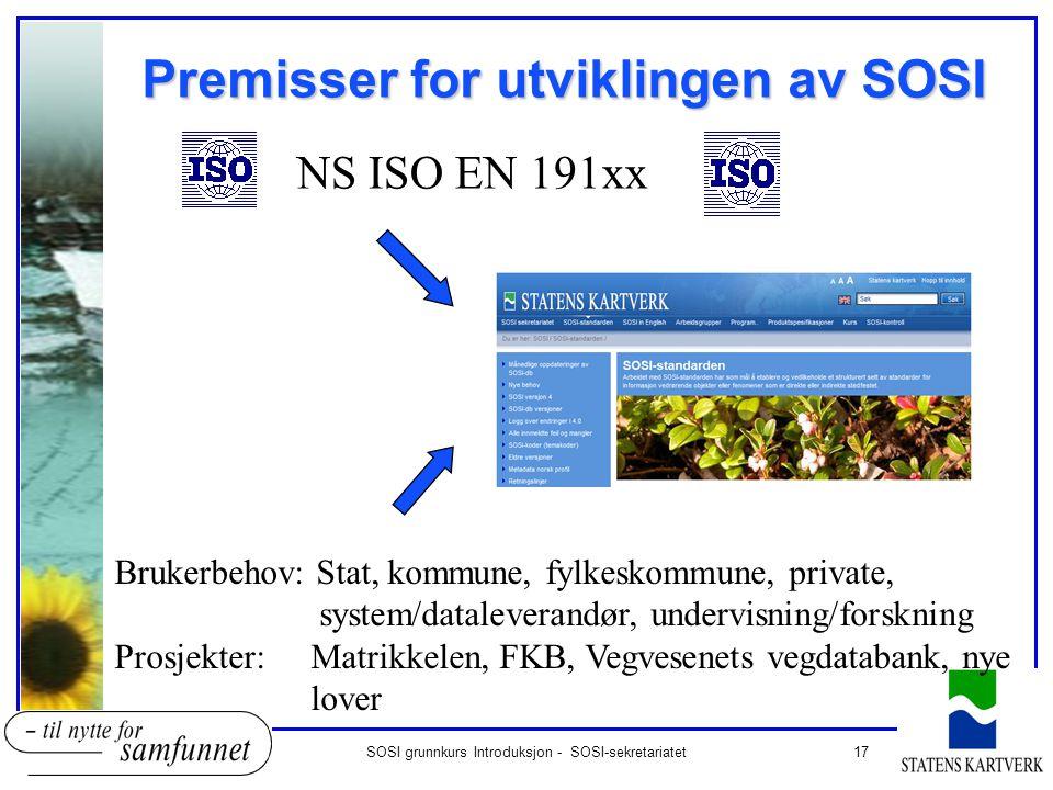 Premisser for utviklingen av SOSI