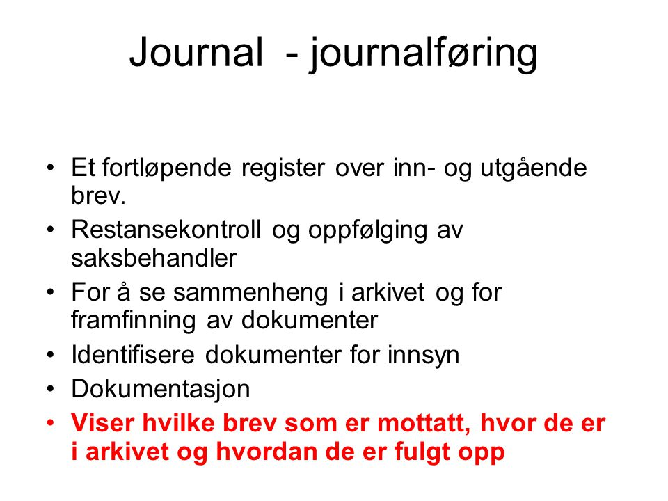 Journal - journalføring