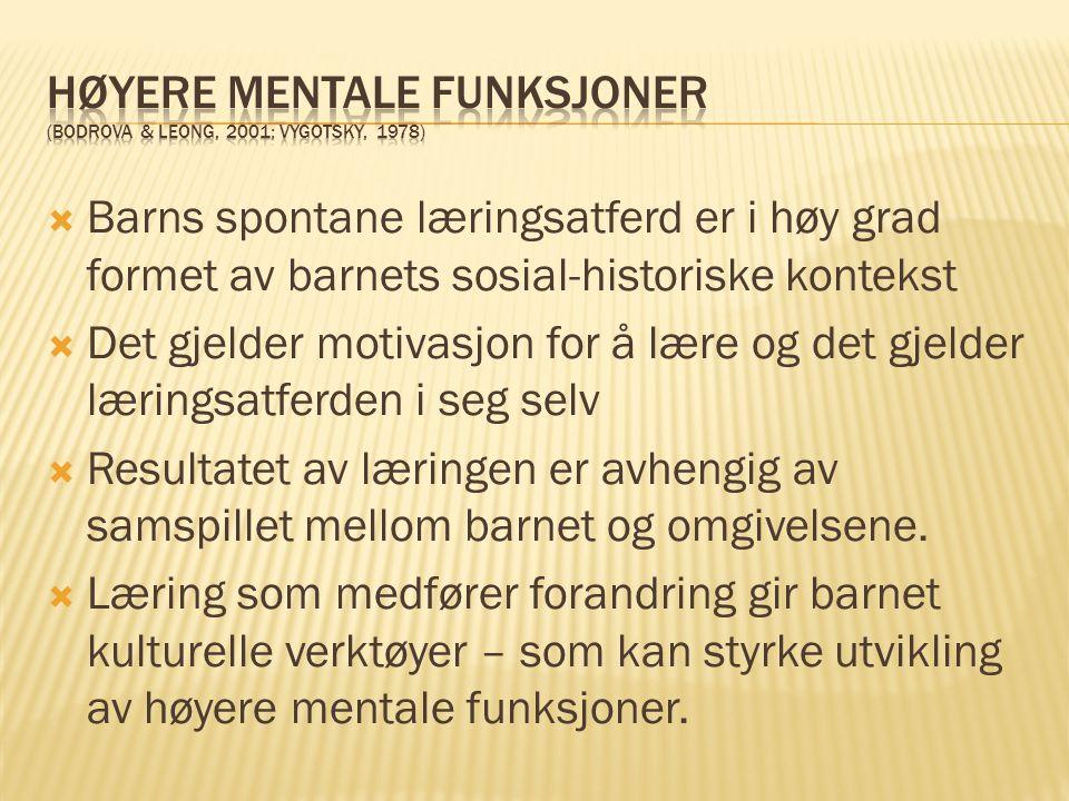 Høyere mentale funksjoner (Bodrova & Leong, 2001; Vygotsky, 1978)