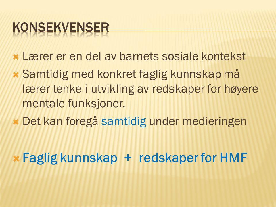 Faglig kunnskap + redskaper for HMF