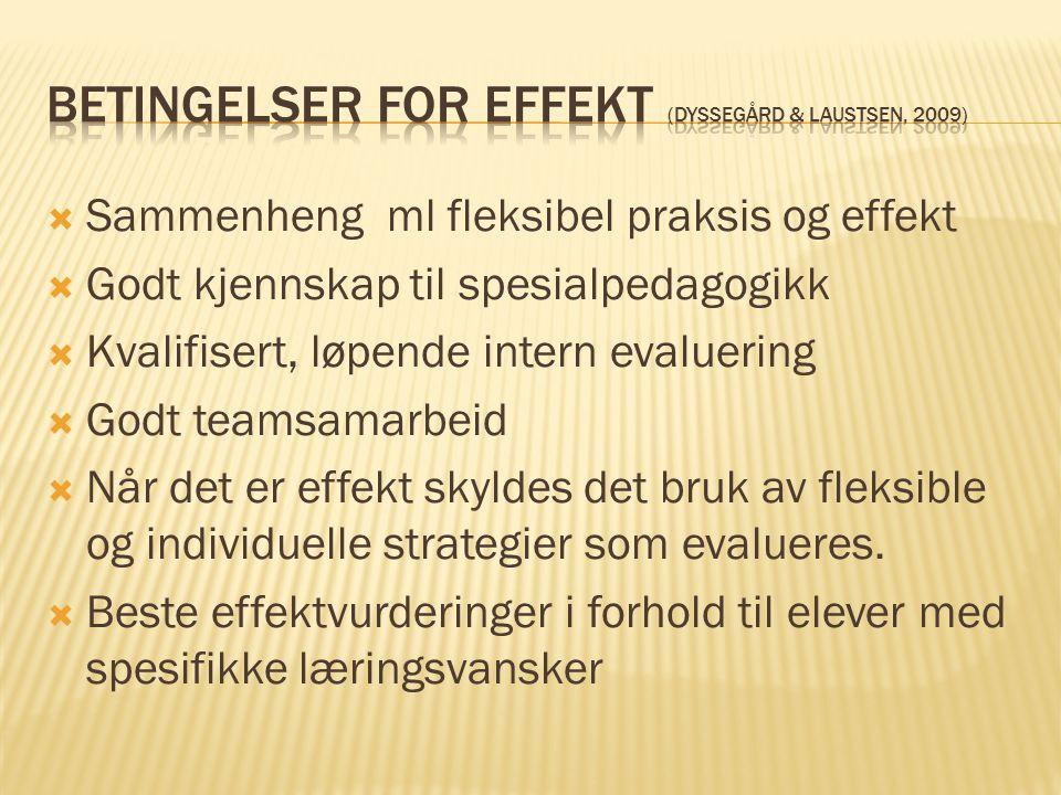 Betingelser for effekt (Dyssegård & Laustsen, 2009)