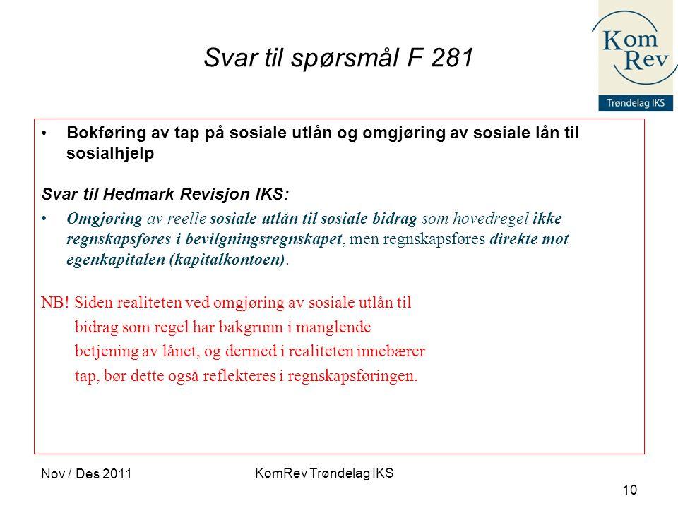 Svar til spørsmål F 281 Bokføring av tap på sosiale utlån og omgjøring av sosiale lån til sosialhjelp.