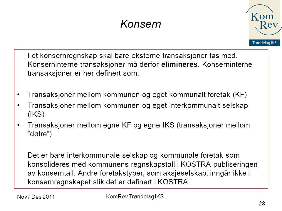 Konsern Transaksjoner mellom kommunen og eget kommunalt foretak (KF)