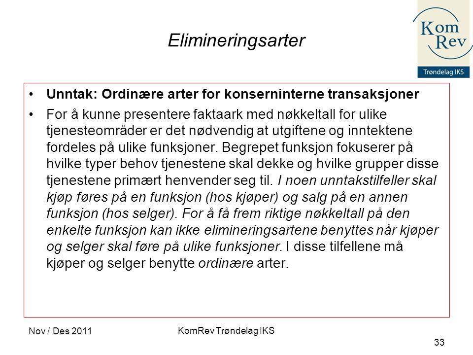 Elimineringsarter Unntak: Ordinære arter for konserninterne transaksjoner.