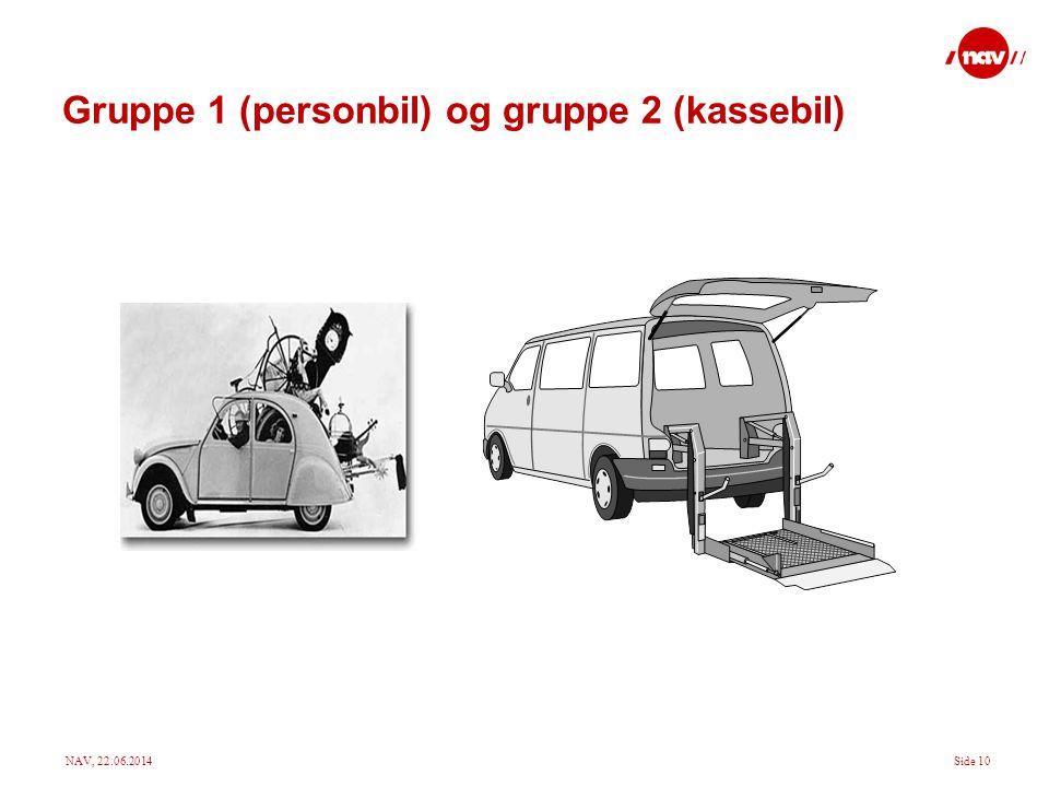 Gruppe 1 (personbil) og gruppe 2 (kassebil)