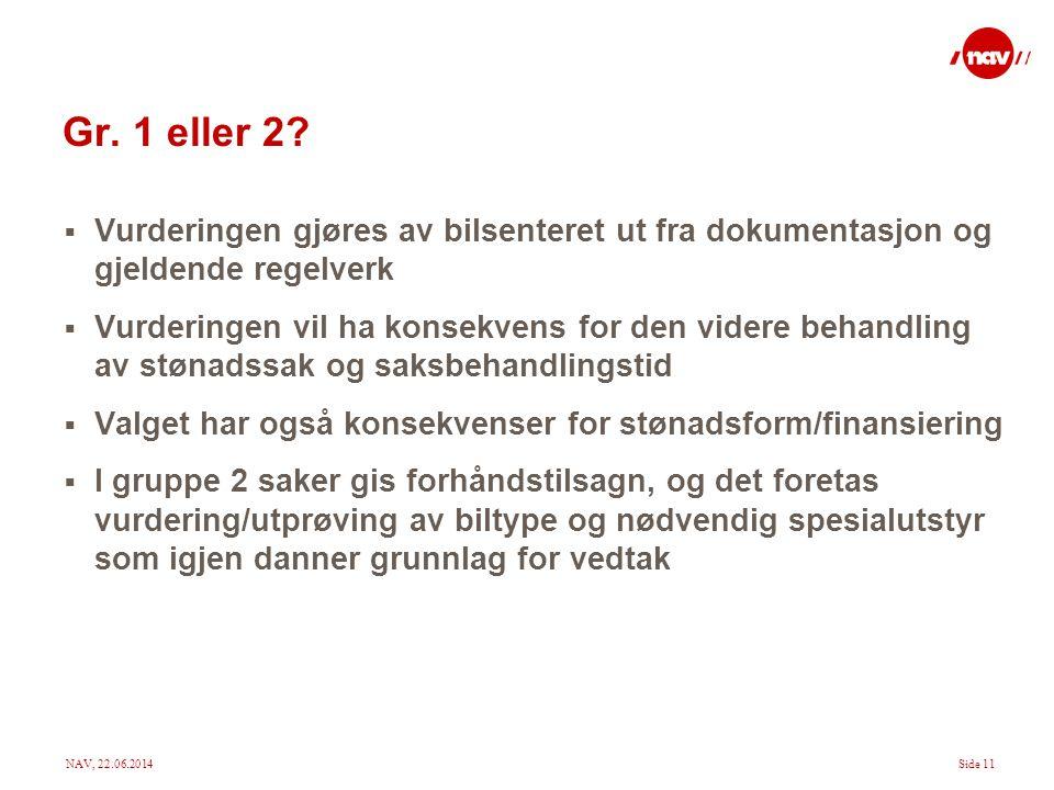 Gr. 1 eller 2 Vurderingen gjøres av bilsenteret ut fra dokumentasjon og gjeldende regelverk.