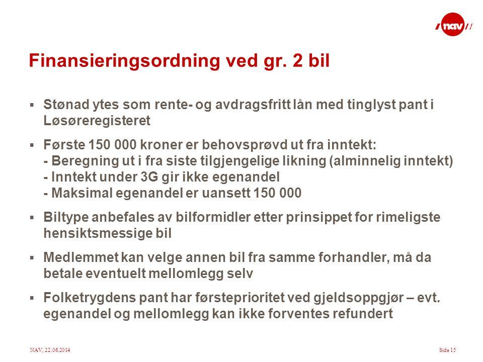 Finansieringsordning ved gr. 2 bil
