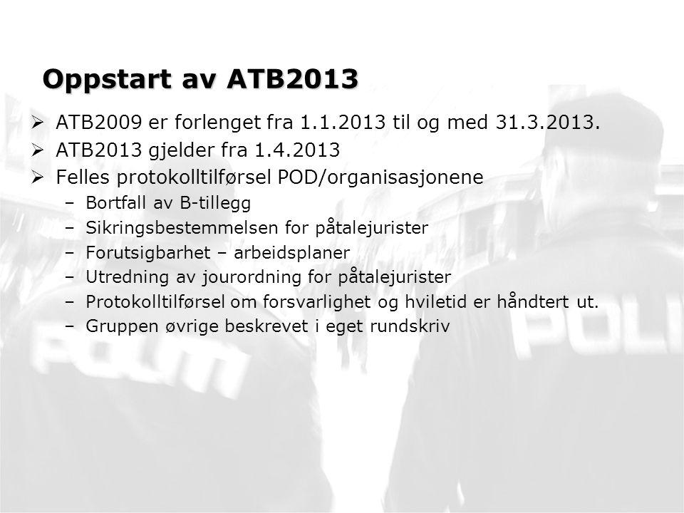 Oppstart av ATB2013 ATB2009 er forlenget fra 1.1.2013 til og med 31.3.2013. ATB2013 gjelder fra 1.4.2013.