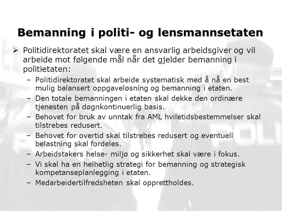 Bemanning i politi- og lensmannsetaten