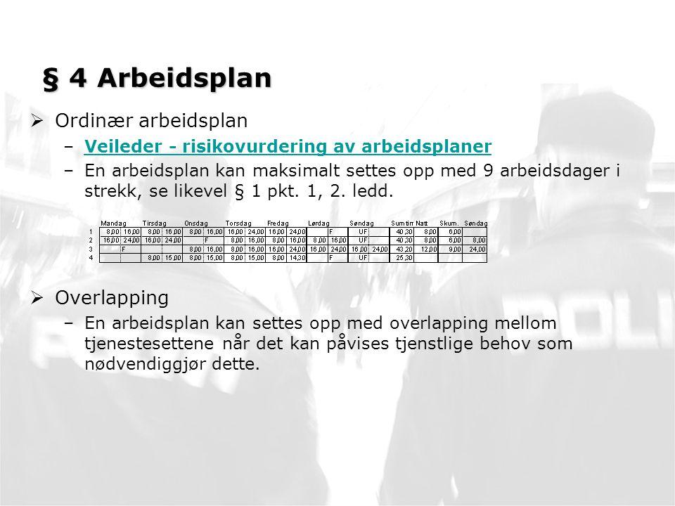 § 4 Arbeidsplan Ordinær arbeidsplan Overlapping