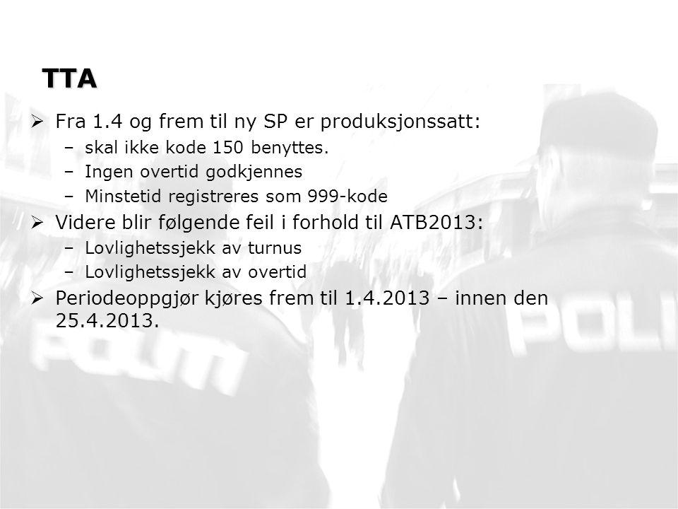 TTA Fra 1.4 og frem til ny SP er produksjonssatt: