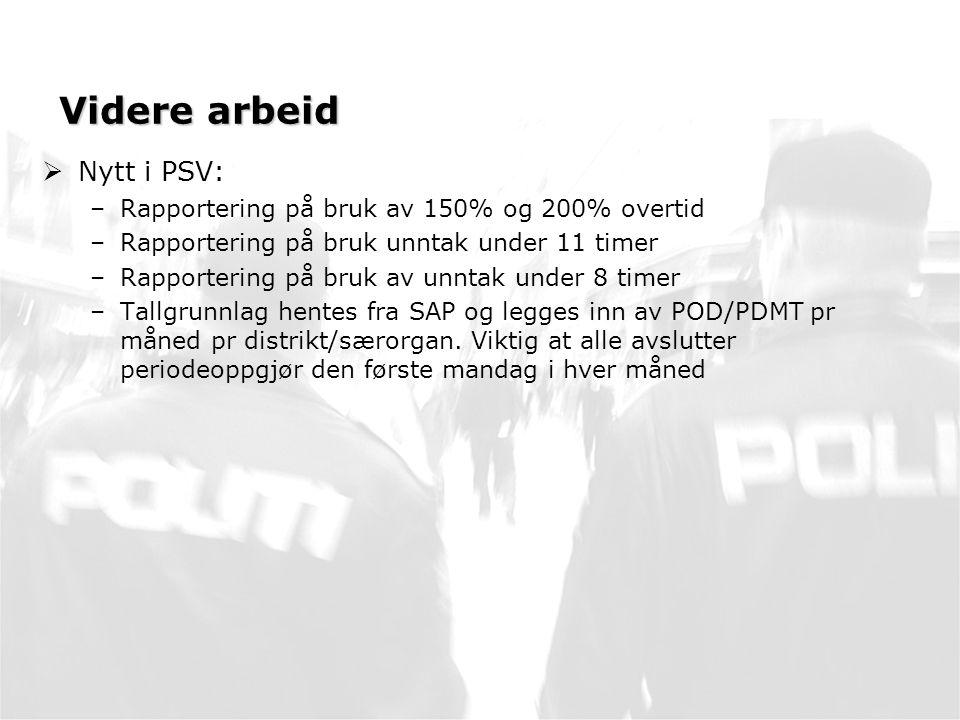 Videre arbeid Nytt i PSV: Rapportering på bruk av 150% og 200% overtid