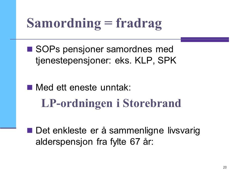 Samordning = fradrag SOPs pensjoner samordnes med tjenestepensjoner: eks. KLP, SPK. Med ett eneste unntak: