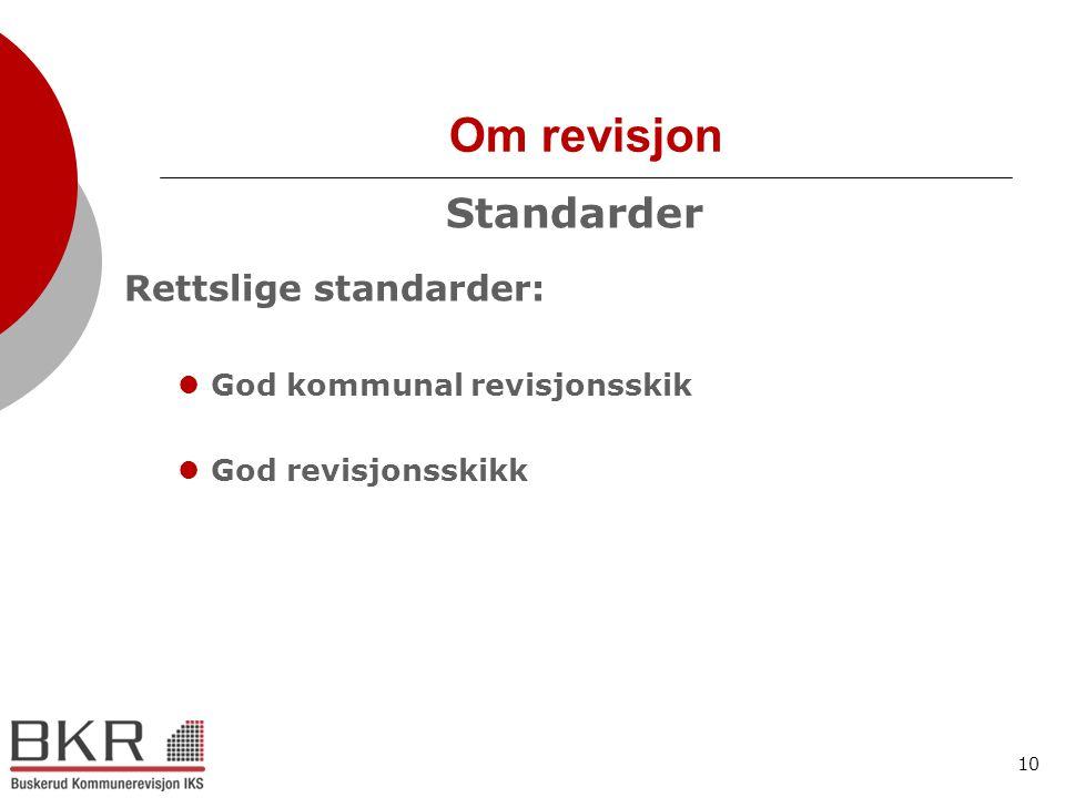 Om revisjon Standarder Rettslige standarder: