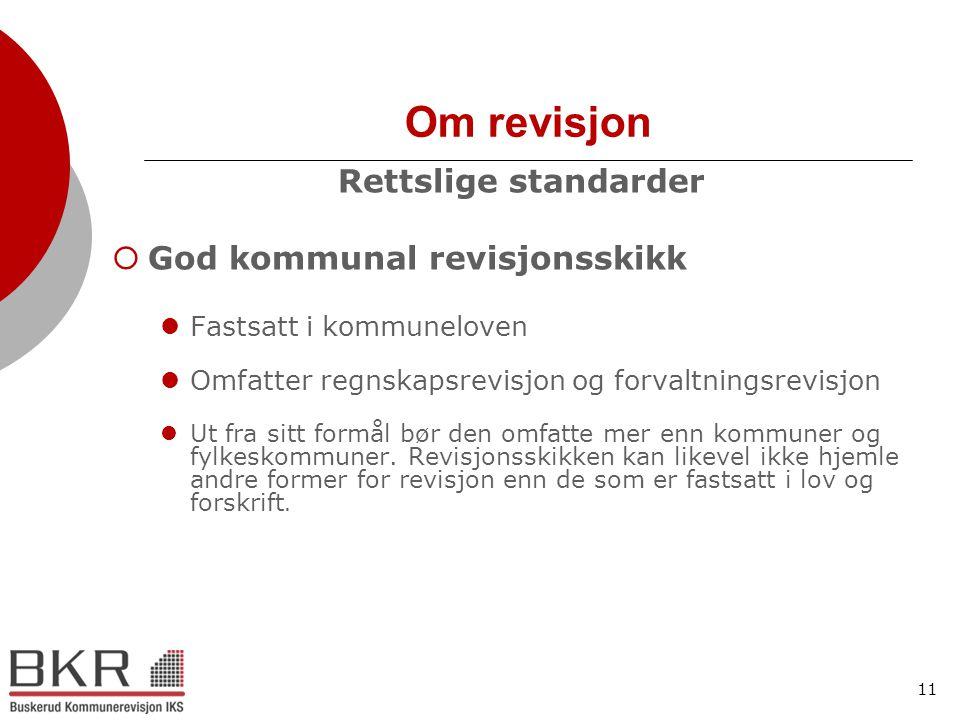 Om revisjon Rettslige standarder God kommunal revisjonsskikk