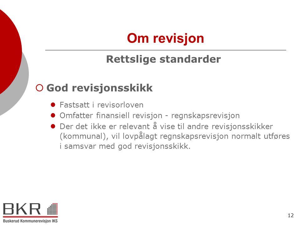 Om revisjon Rettslige standarder God revisjonsskikk