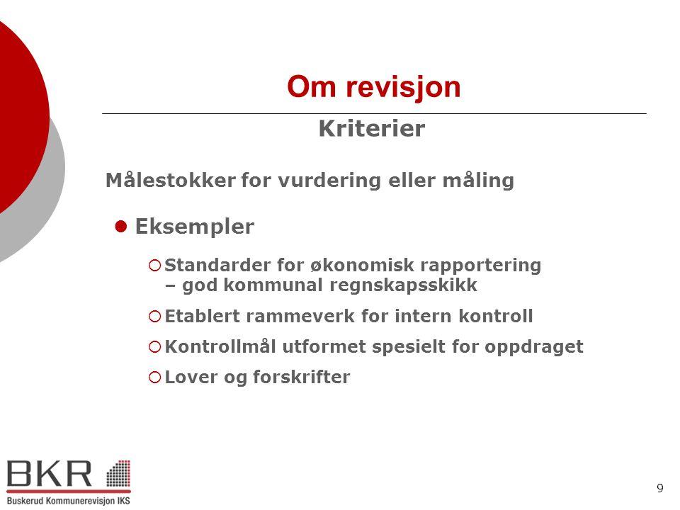 Om revisjon Kriterier Eksempler Standarder for økonomisk rapportering