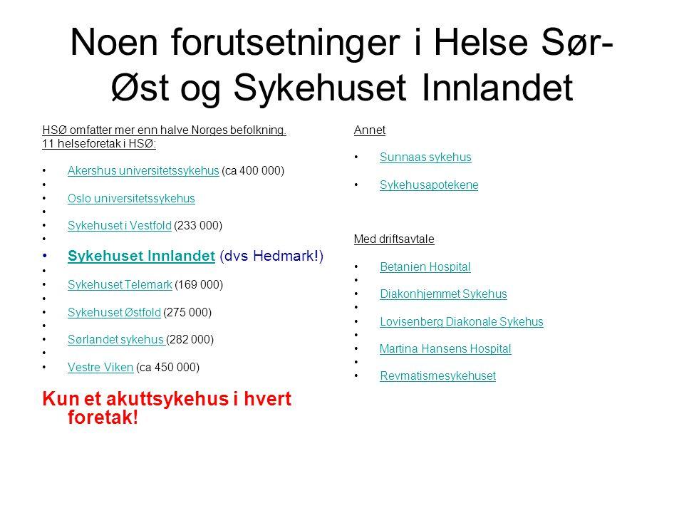 Noen forutsetninger i Helse Sør-Øst og Sykehuset Innlandet