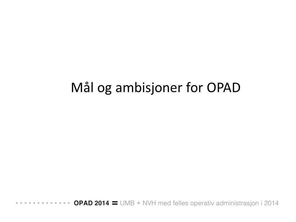 Mål og ambisjoner for OPAD