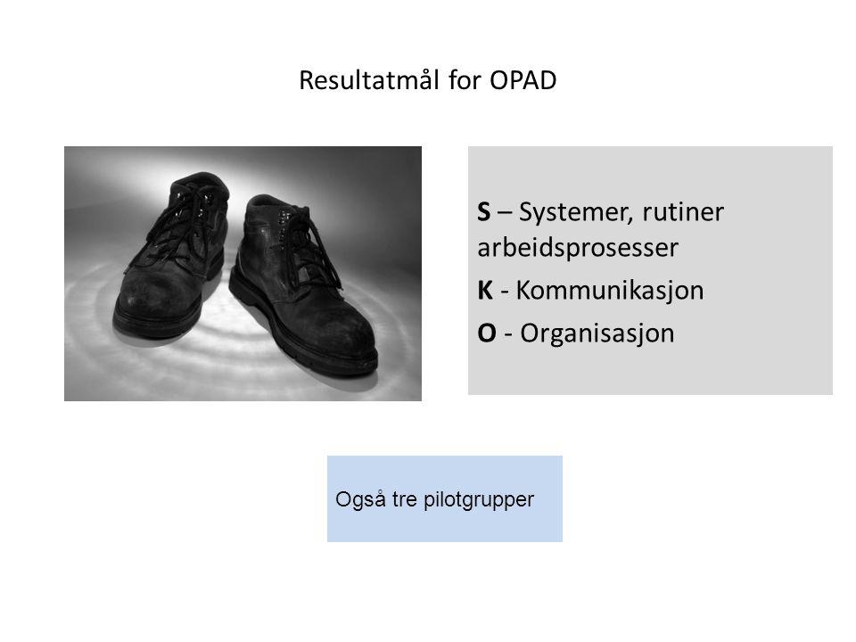 Resultatmål for OPAD S – Systemer, rutiner arbeidsprosesser K - Kommunikasjon O - Organisasjon