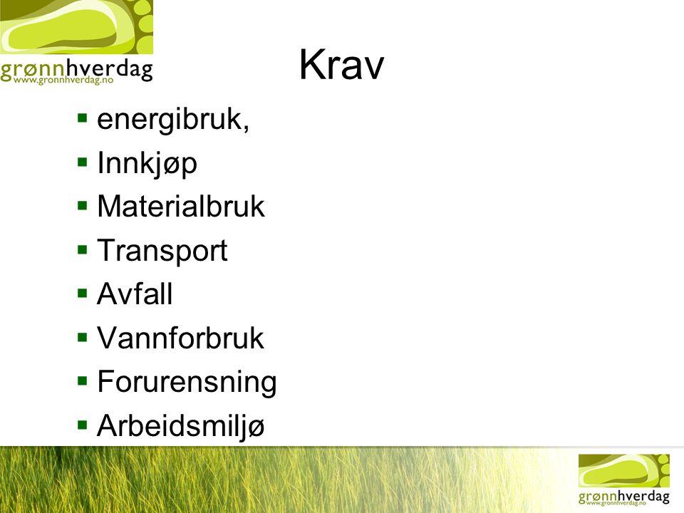 Krav energibruk, Innkjøp Materialbruk Transport Avfall Vannforbruk