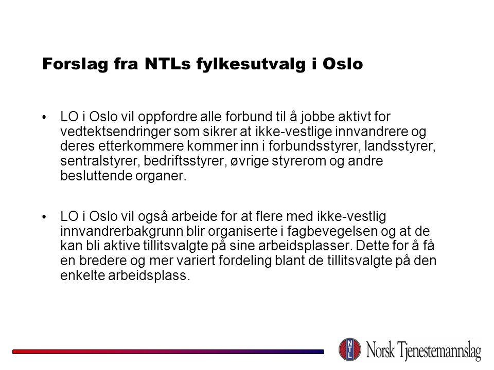 Forslag fra NTLs fylkesutvalg i Oslo