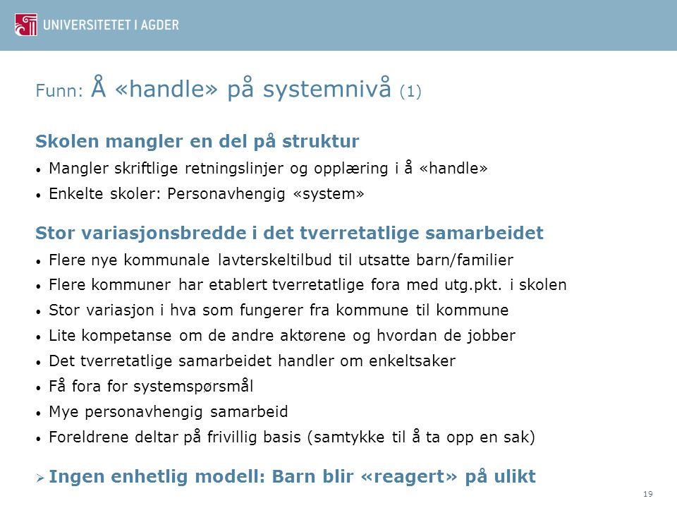 Funn: Å «handle» på systemnivå (1)