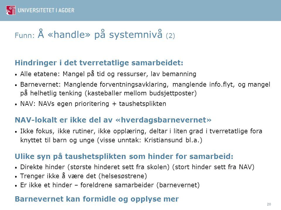Funn: Å «handle» på systemnivå (2)