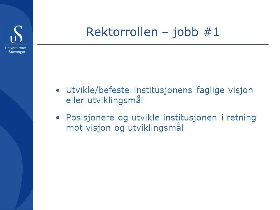 Rektorrollen – jobb #1 Utvikle/befeste institusjonens faglige visjon eller utviklingsmål.