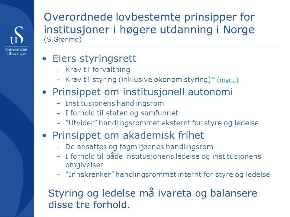 Overordnede lovbestemte prinsipper for institusjoner i høgere utdanning i Norge (S.Grønmo)
