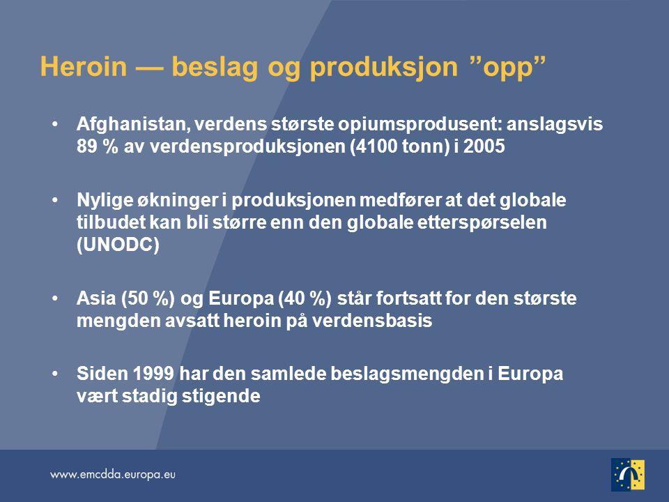 Heroin — beslag og produksjon opp