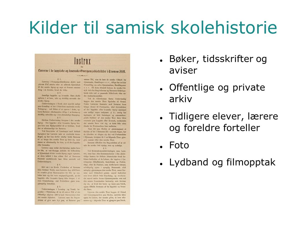Kilder til samisk skolehistorie