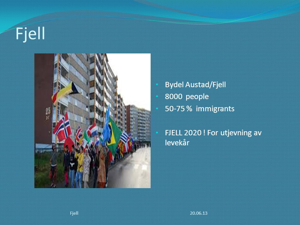 Fjell Bydel Austad/Fjell 8000 people % immigrants