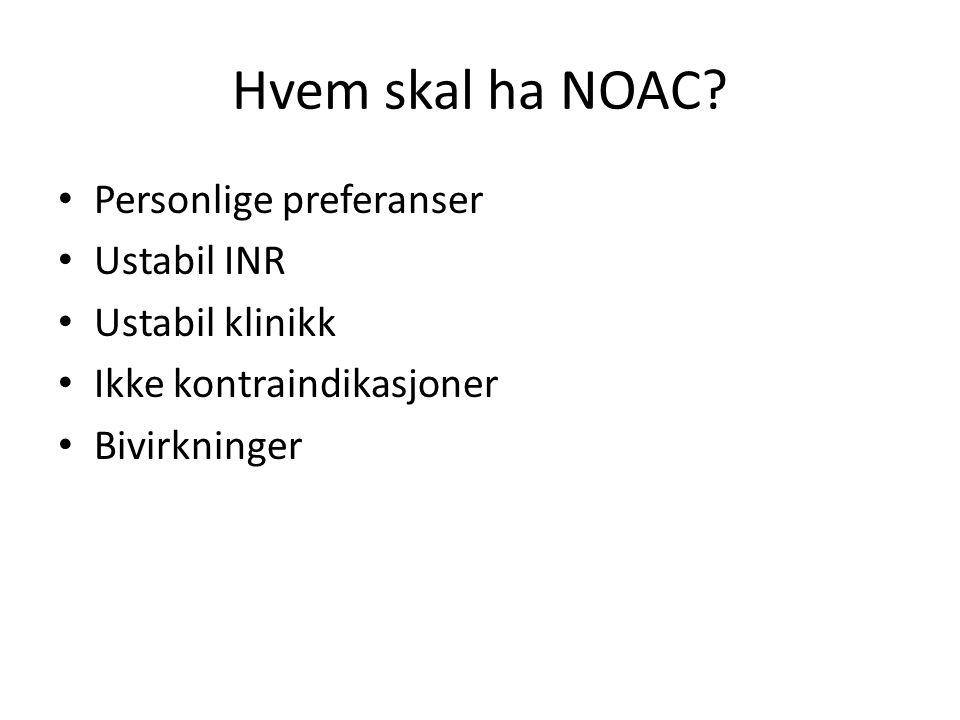 Hvem skal ha NOAC Personlige preferanser Ustabil INR Ustabil klinikk