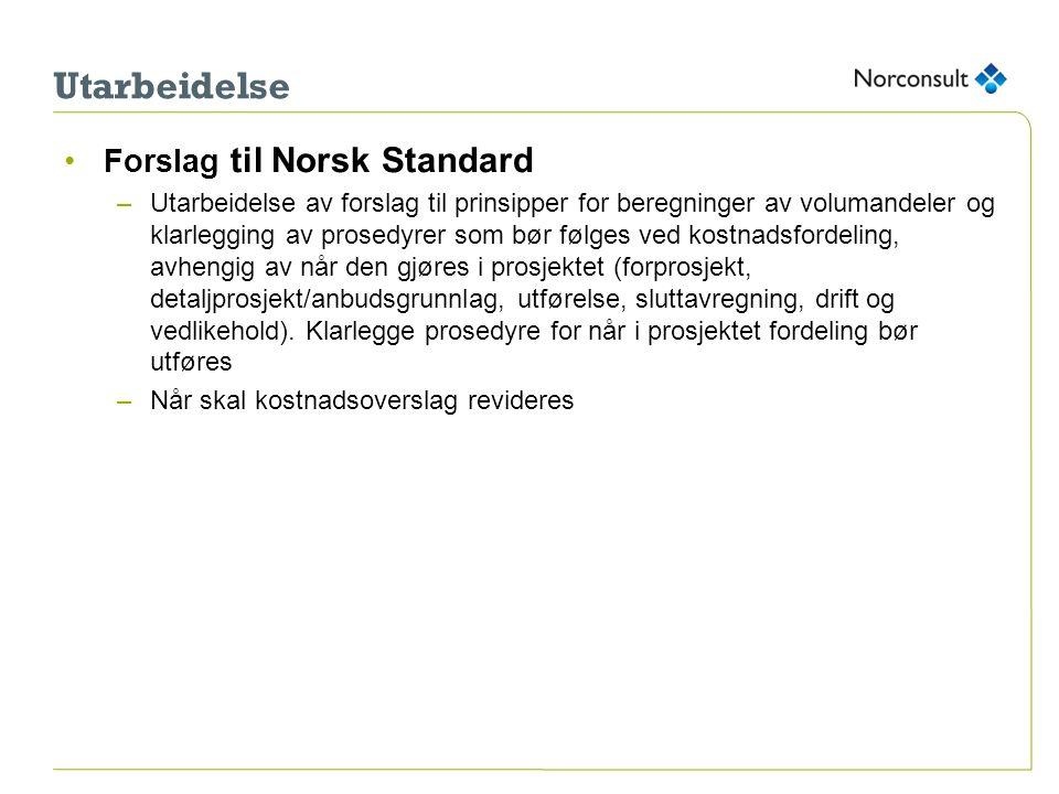 Utarbeidelse Forslag til Norsk Standard