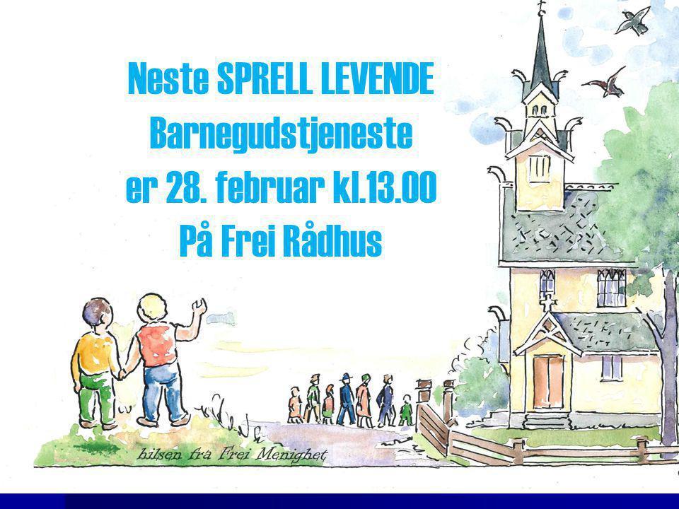 Neste SPRELL LEVENDE Barnegudstjeneste er 28. februar kl.13.00