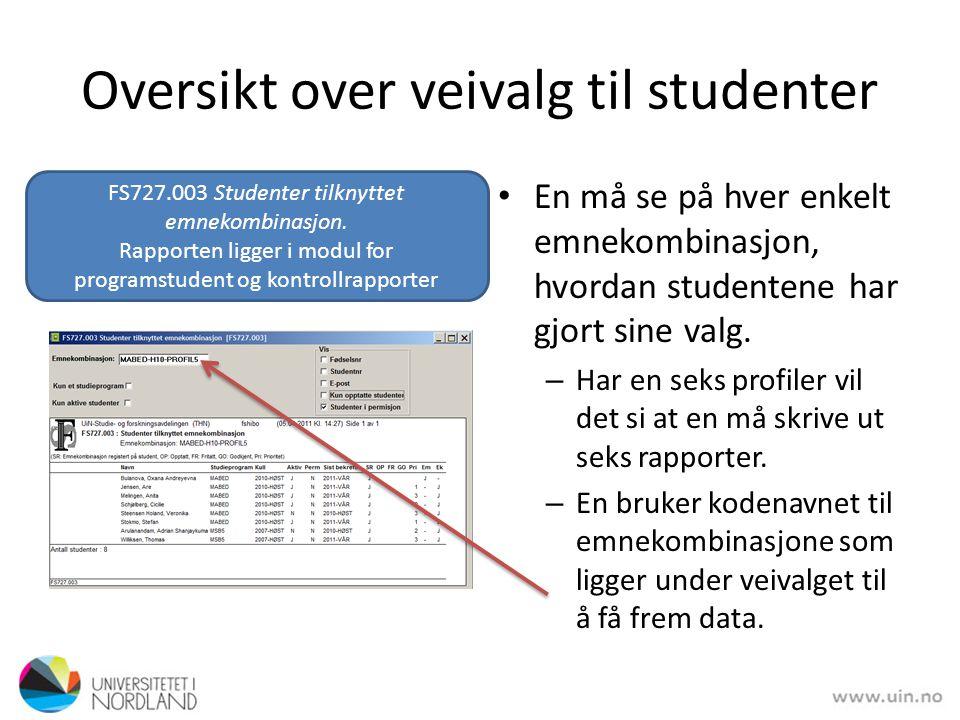 Oversikt over veivalg til studenter