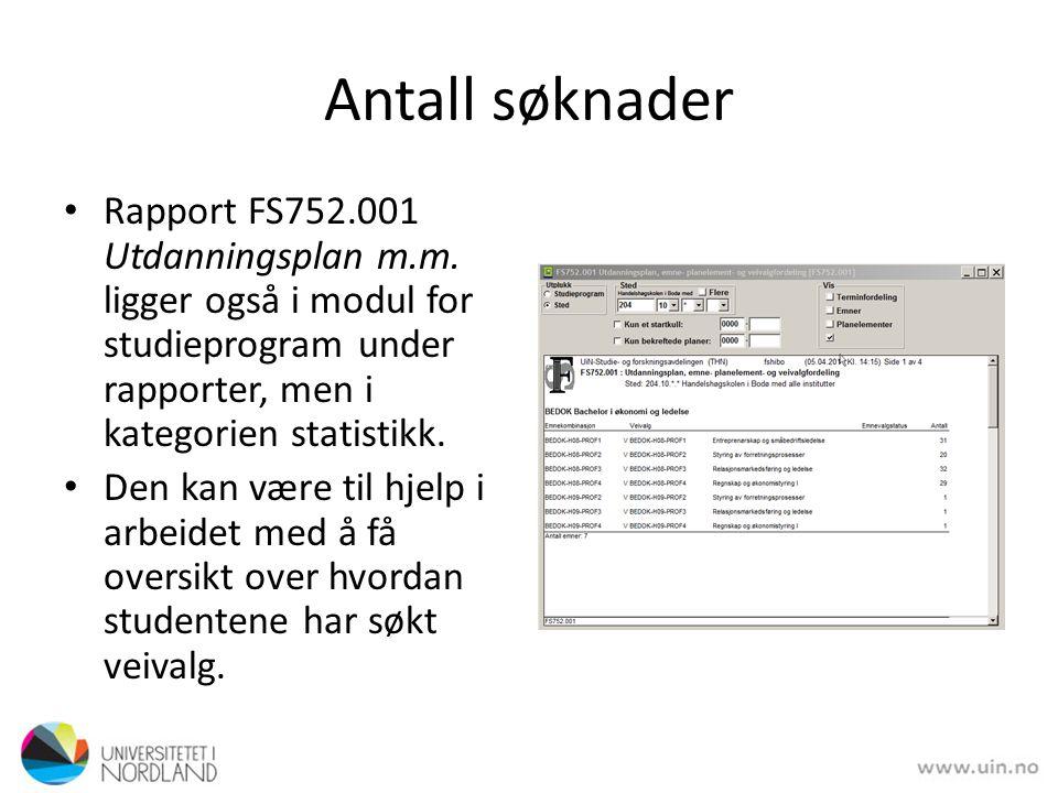 Antall søknader Rapport FS752.001 Utdanningsplan m.m. ligger også i modul for studieprogram under rapporter, men i kategorien statistikk.