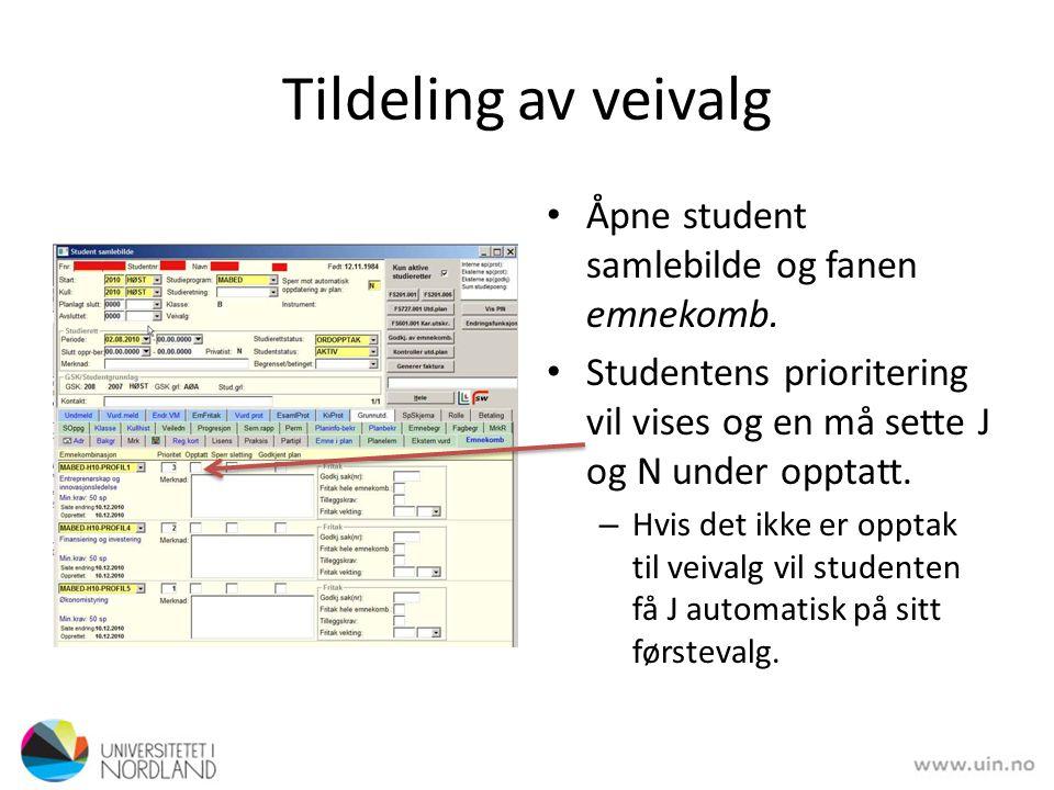 Tildeling av veivalg Åpne student samlebilde og fanen emnekomb.