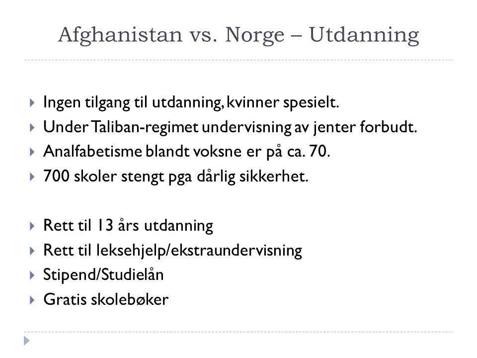 Afghanistan vs. Norge – Utdanning