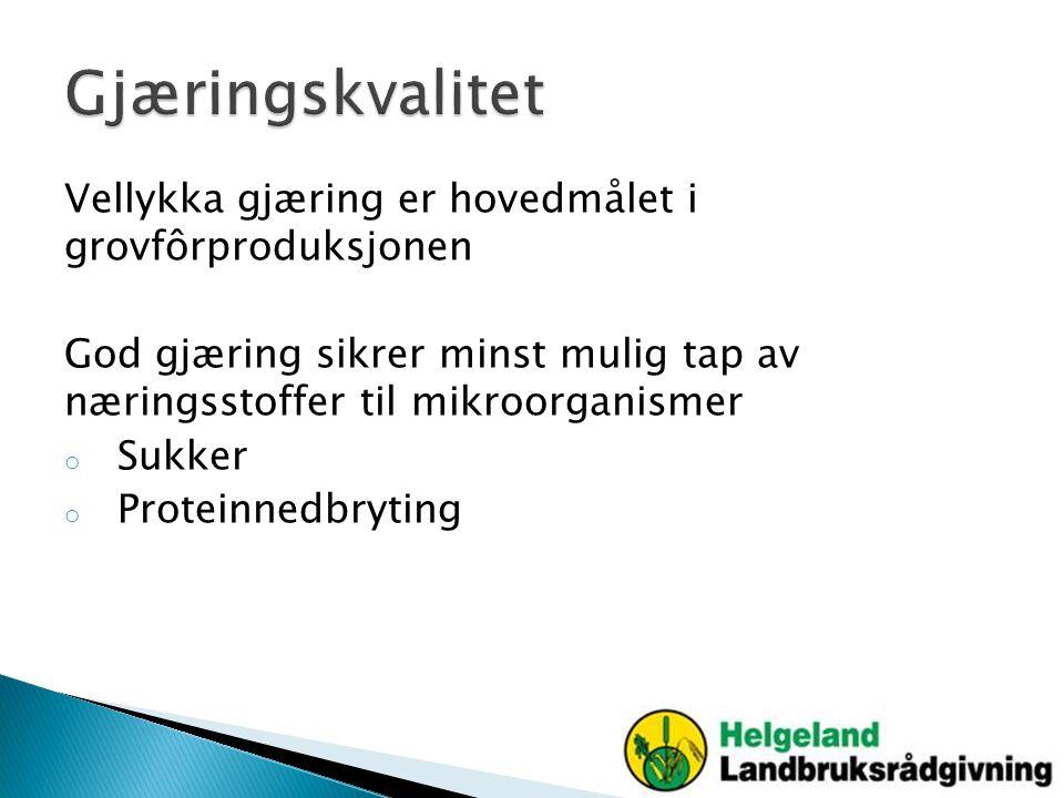 Gjæringskvalitet Vellykka gjæring er hovedmålet i grovfôrproduksjonen