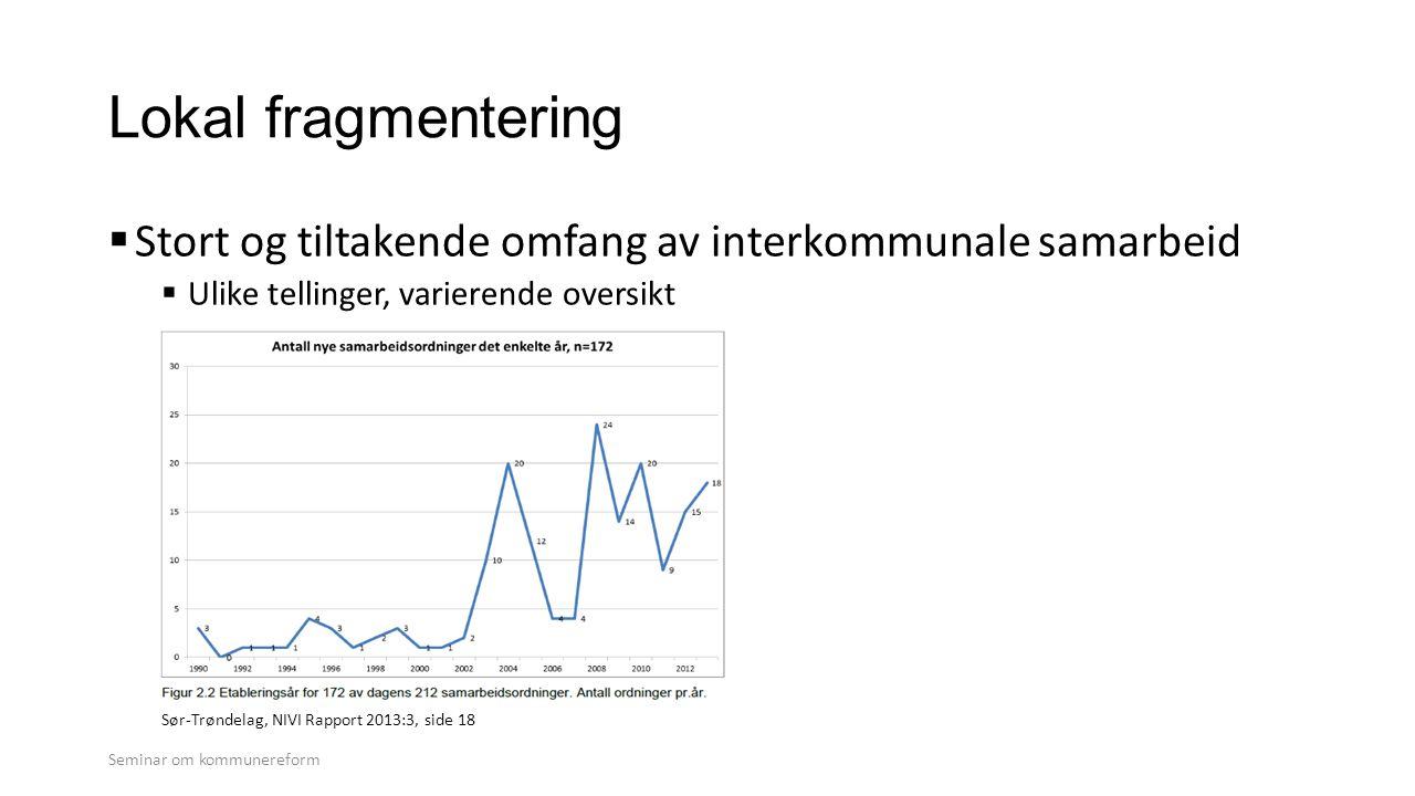 Lokal fragmentering Stort og tiltakende omfang av interkommunale samarbeid. Ulike tellinger, varierende oversikt.