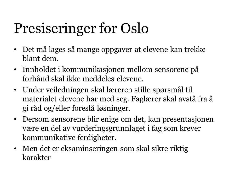 Presiseringer for Oslo