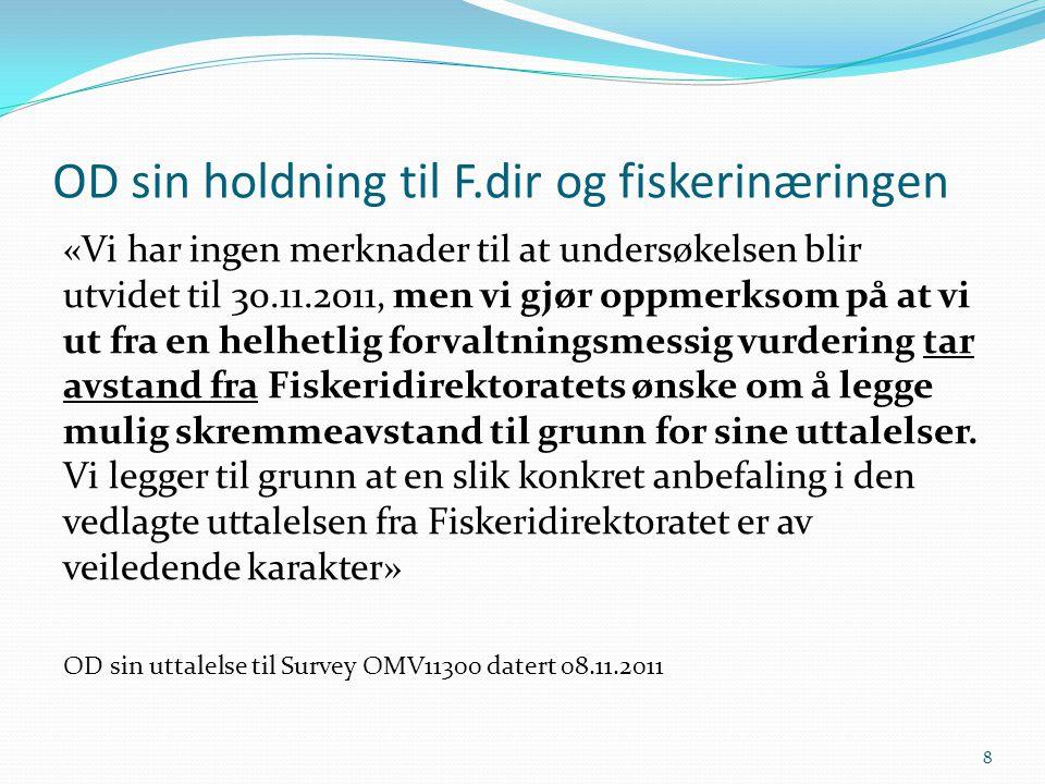 OD sin holdning til F.dir og fiskerinæringen