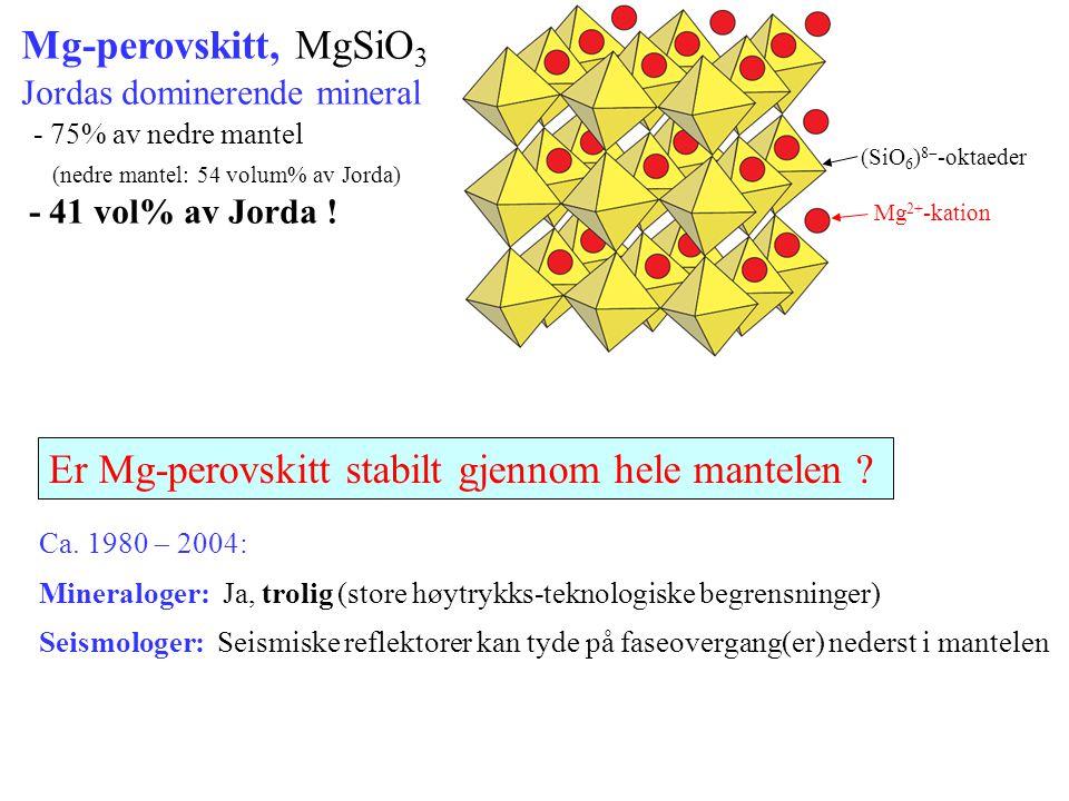 Er Mg-perovskitt stabilt gjennom hele mantelen