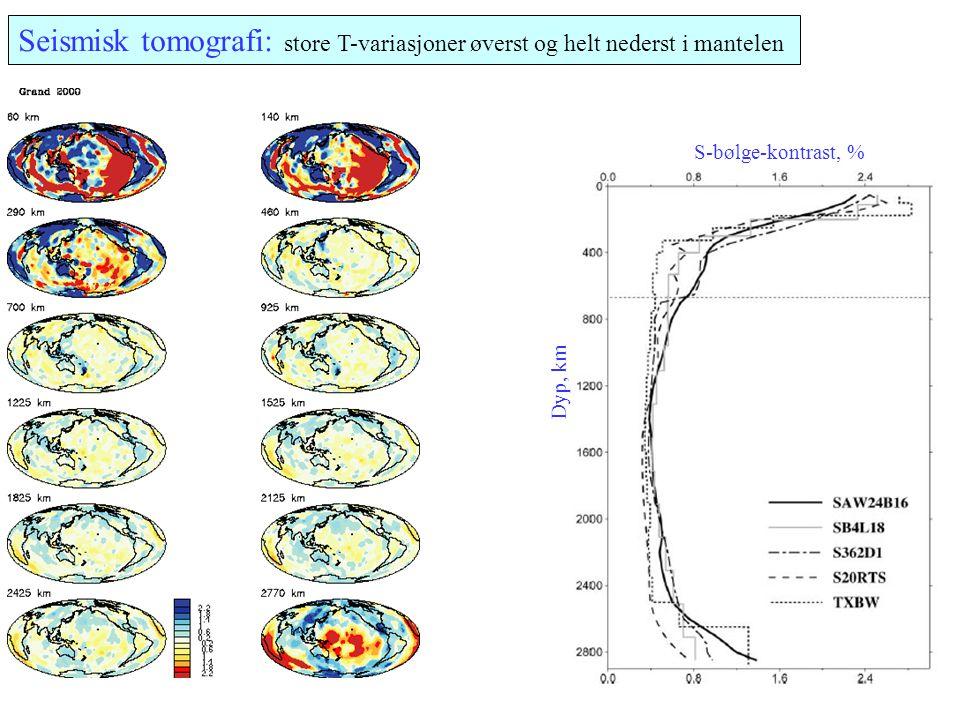 Seismisk tomografi: store T-variasjoner øverst og helt nederst i mantelen