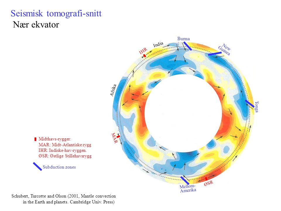 Seismisk tomografi-snitt Nær ekvator