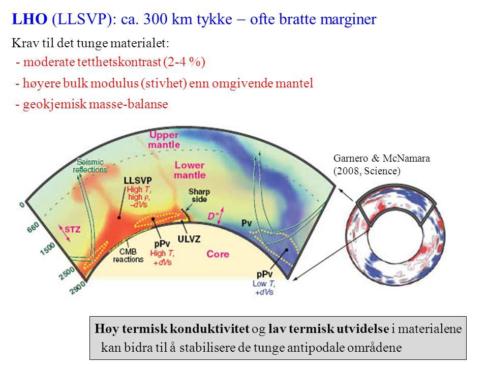 LHO (LLSVP): ca. 300 km tykke - ofte bratte marginer