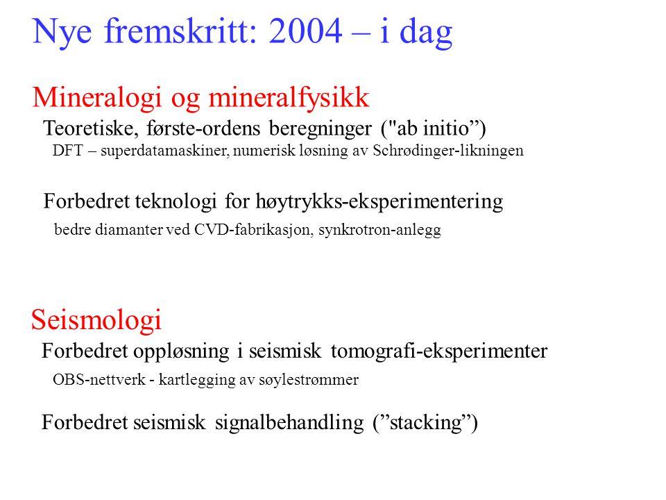 Nye fremskritt: 2004 – i dag Mineralogi og mineralfysikk Seismologi